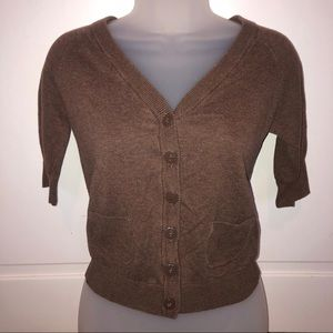 Brown Cropped Short Sleeve Cardigan Sweater